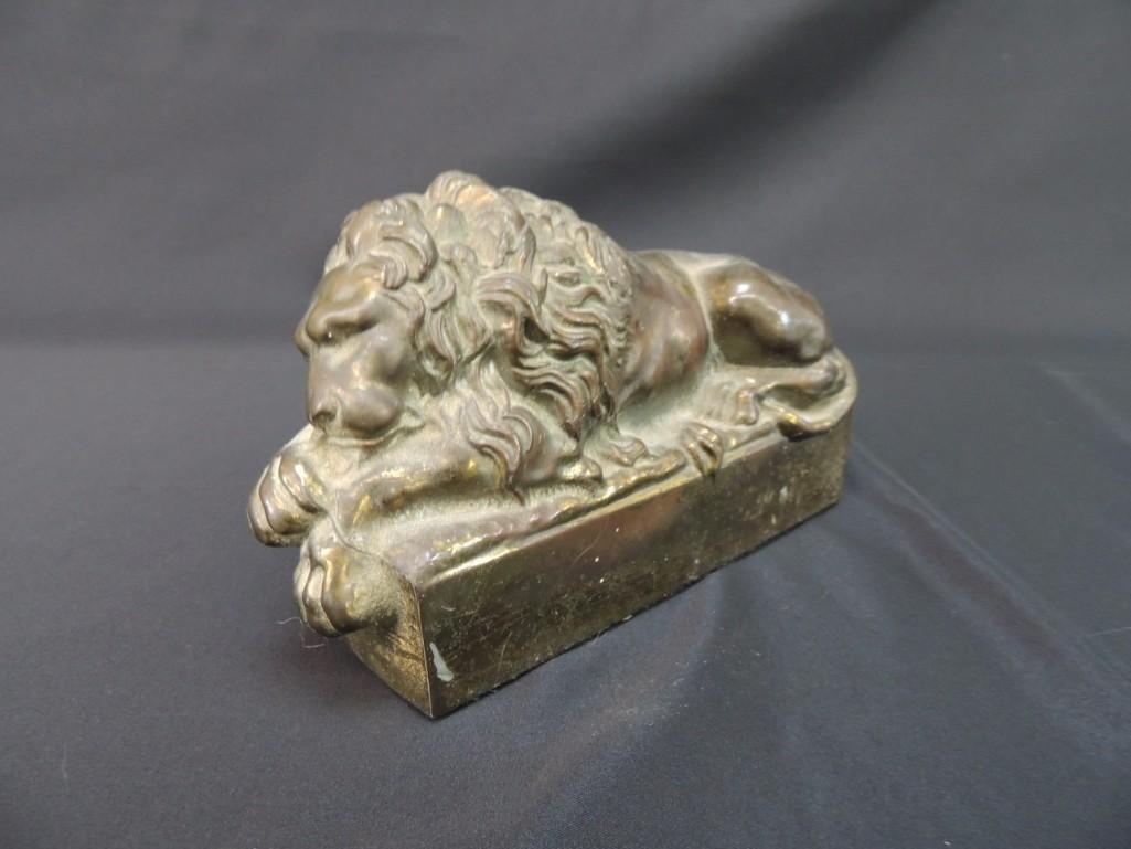 Bronze Memorial Lion Sleeping Statue Featuring Antonio