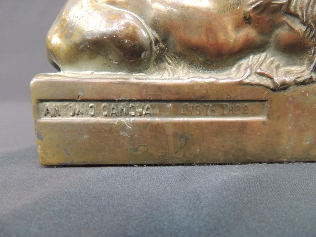 Bronze Memorial Lion Sleeping Statue Featuring Antonio - 3
