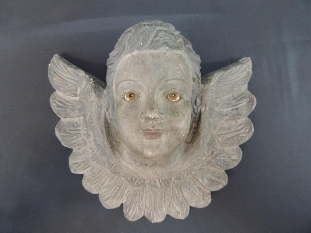 Wood Carved Angel with Glass Eyes
