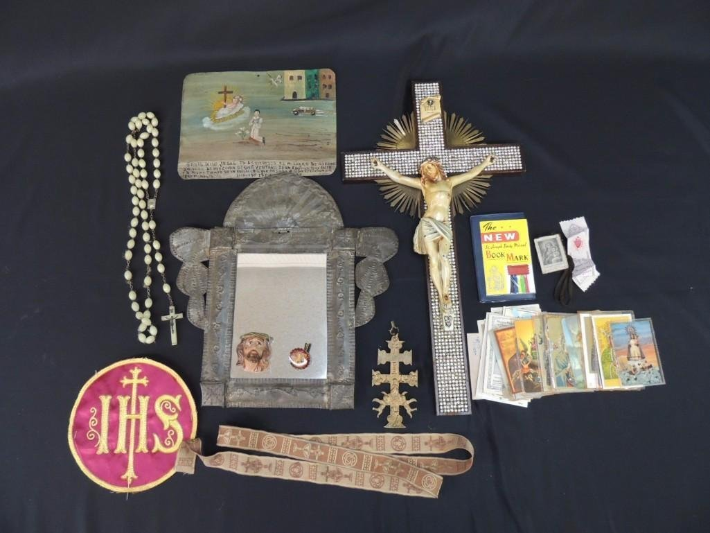 Group of Religious Items Featuring Crosses, Tin Mirror,