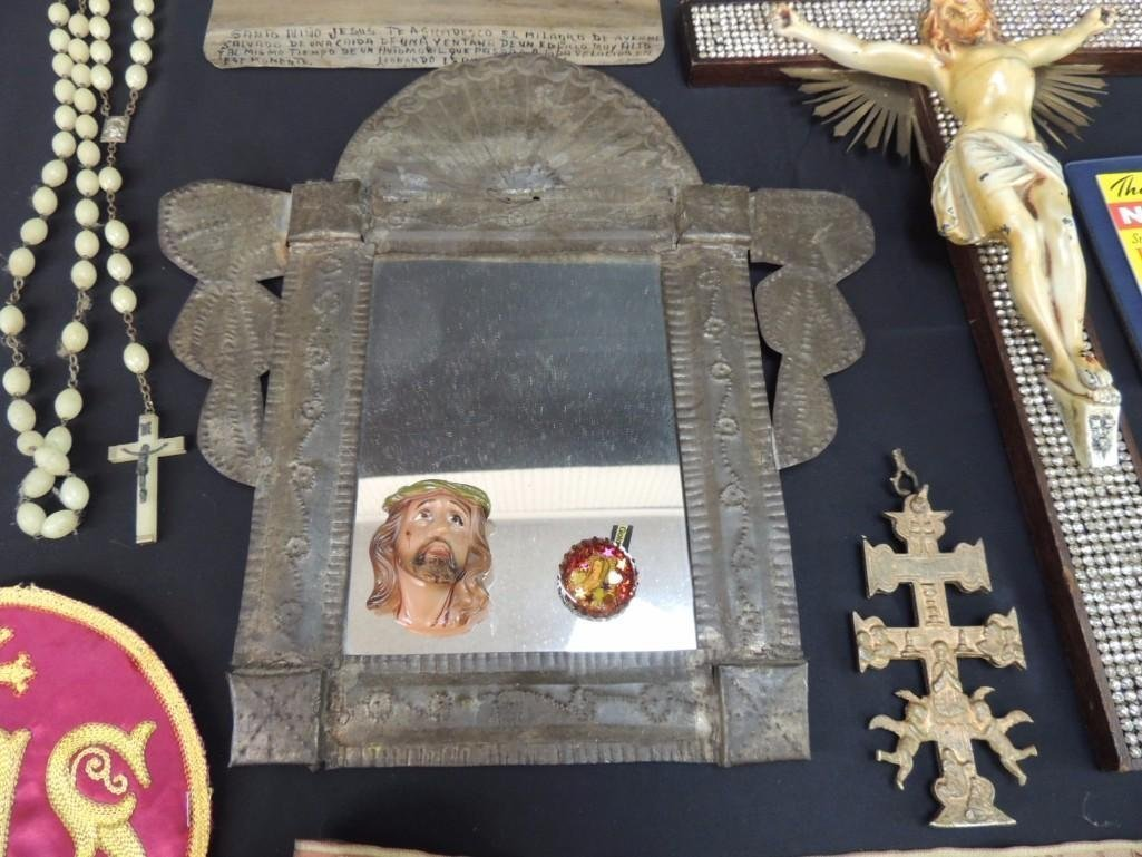 Group of Religious Items Featuring Crosses, Tin Mirror, - 4