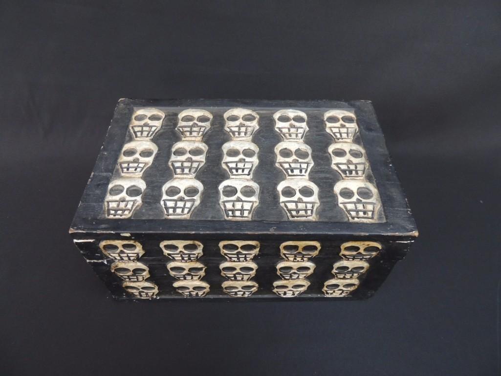 Wood Carved Skull Box - 2