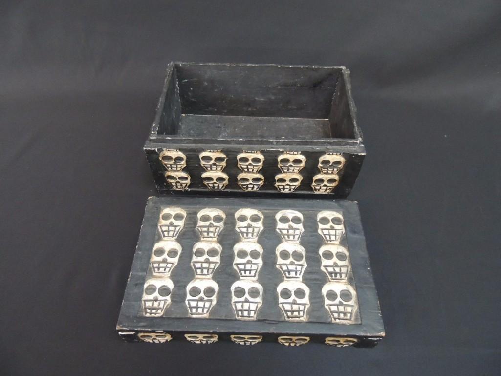 Wood Carved Skull Box - 3