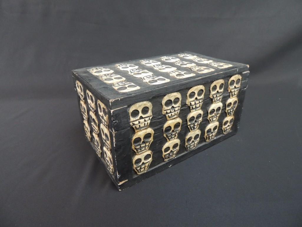Wood Carved Skull Box - 5