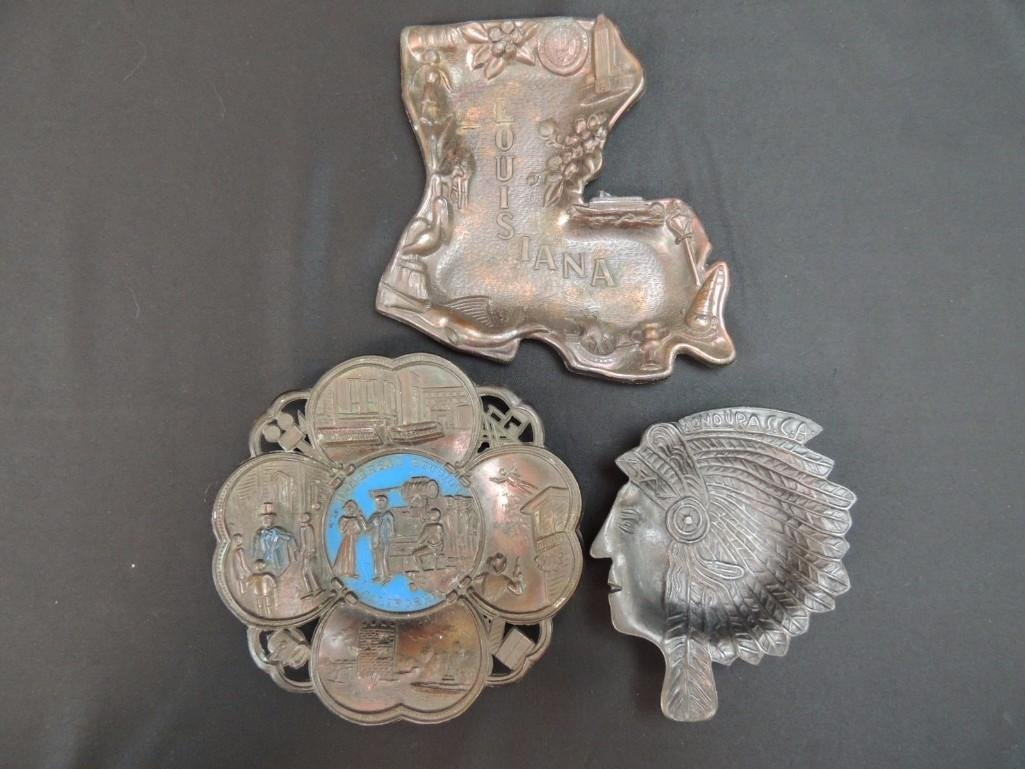 Group of 3 Souvenir Trays and Ashtrays Featuring