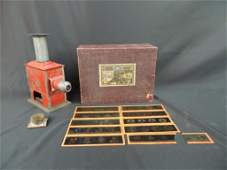 Antique Magic Lantern with Glass Slides and Original
