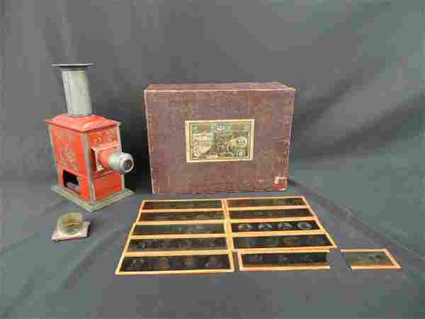 Antique Magic Lantern with Glass Slides and Original