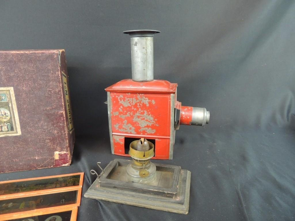 Antique Magic Lantern with Glass Slides and Original - 5