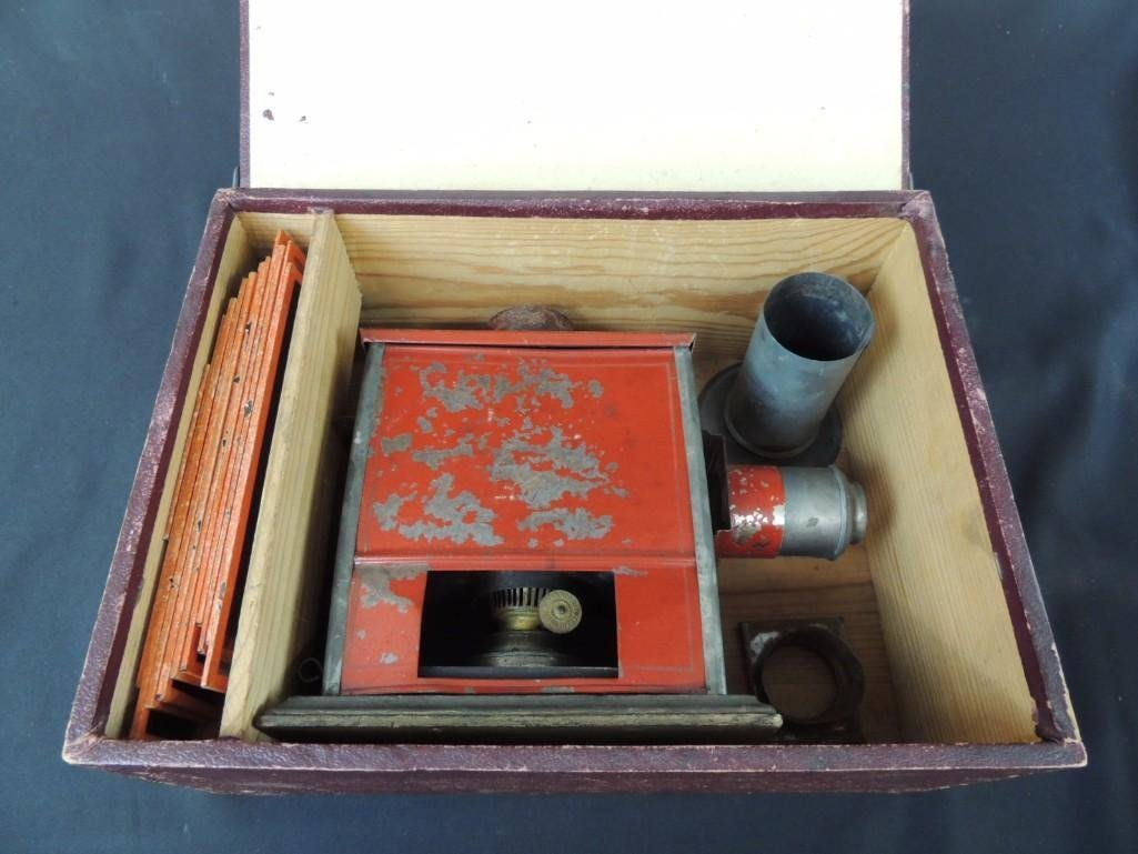 Antique Magic Lantern with Glass Slides and Original - 6