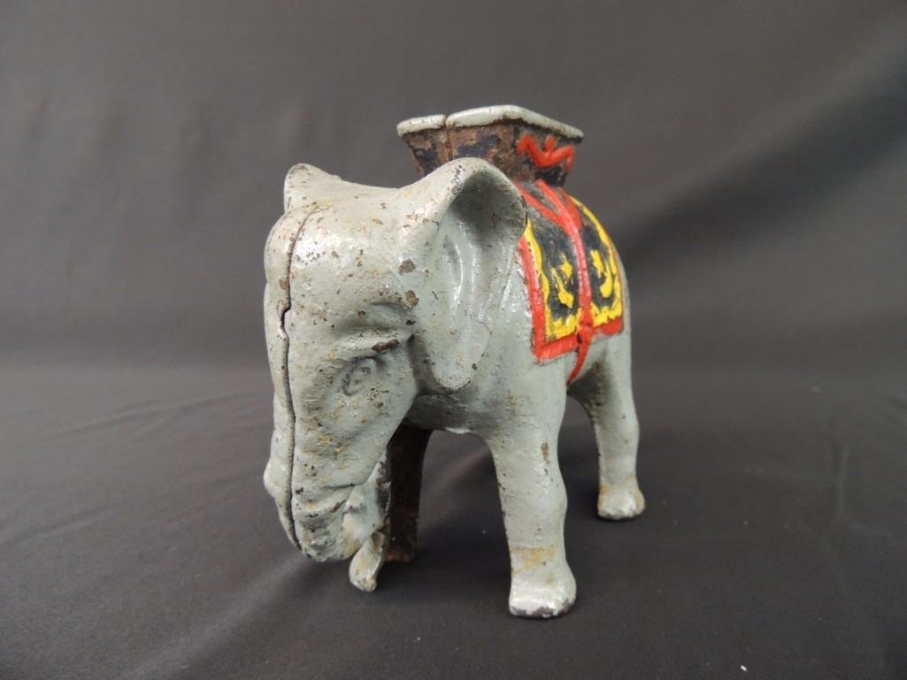 Cast Iron Elephant Coin Bank - 3