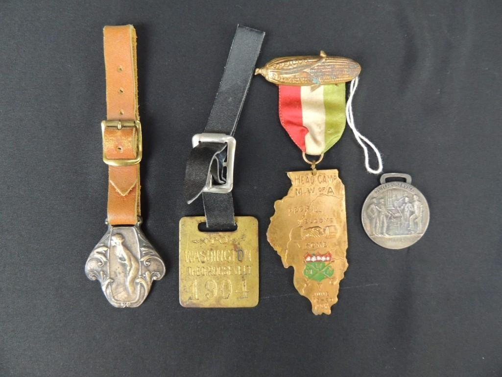 Group of 4 Circa 1900's Watch Fobs, Badges, and Others