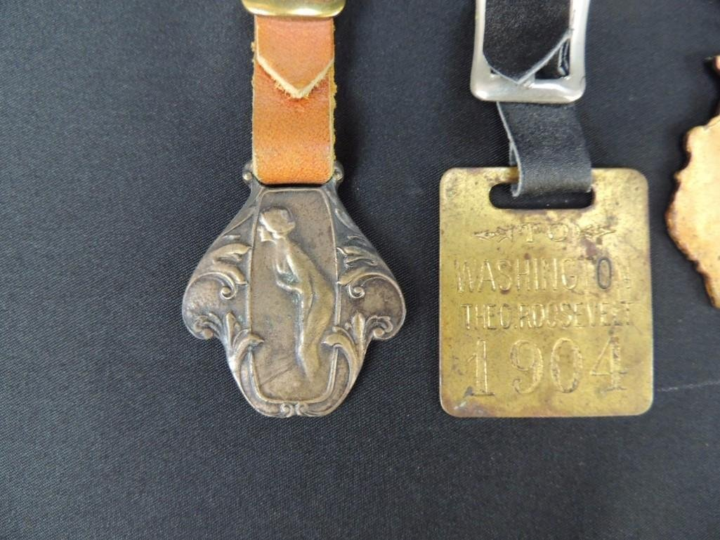 Group of 4 Circa 1900's Watch Fobs, Badges, and Others - 3