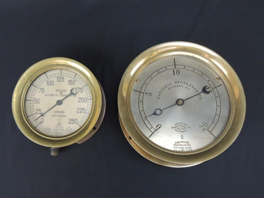 Group of 2 Industrial Brass Pressure Gauges