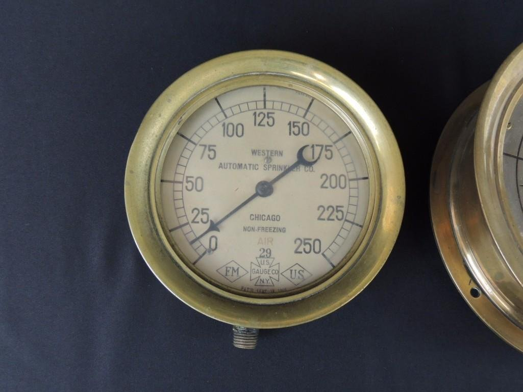 Group of 2 Industrial Brass Pressure Gauges - 2