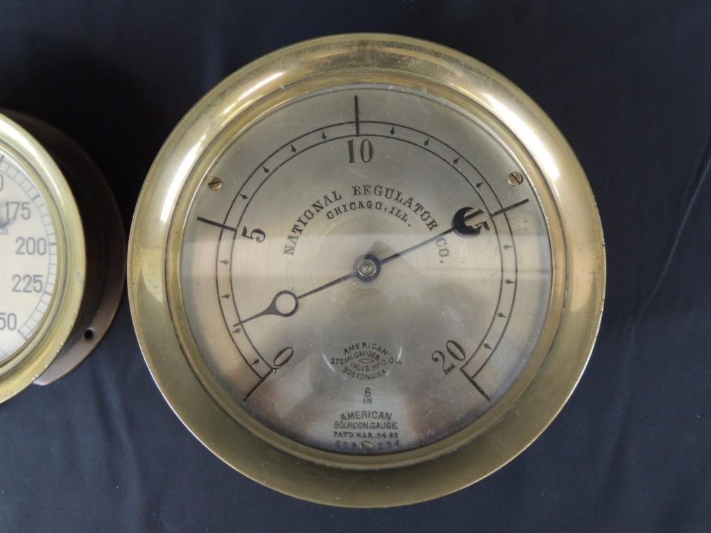 Group of 2 Industrial Brass Pressure Gauges - 3
