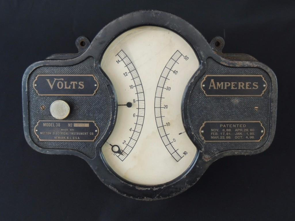Weston Electrical Co. Volt and Amperes Mete Model 38