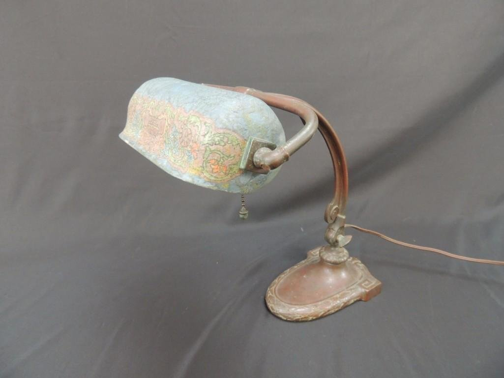 Antique Handel Copper Student Lamp with Blue/Green - 6