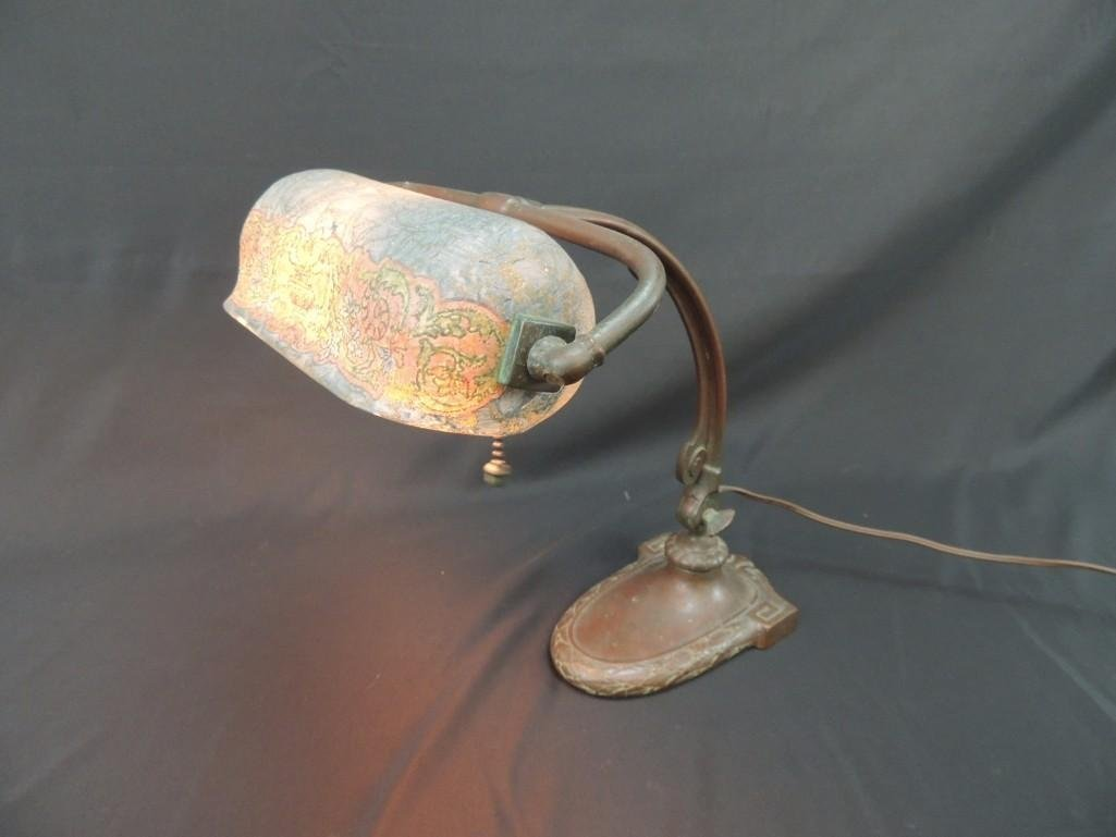 Antique Handel Copper Student Lamp with Blue/Green - 7