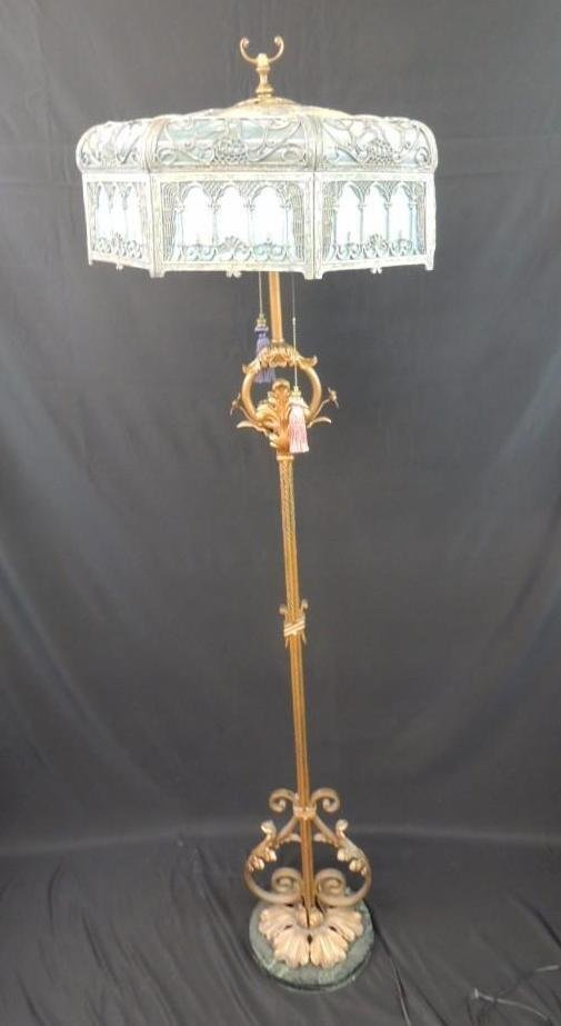 Antique Stained Glass Floor Lamp Featuring Griffins