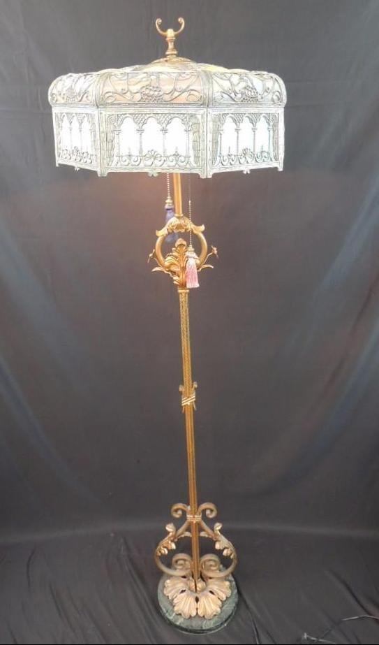 Antique Stained Glass Floor Lamp Featuring Griffins - 2