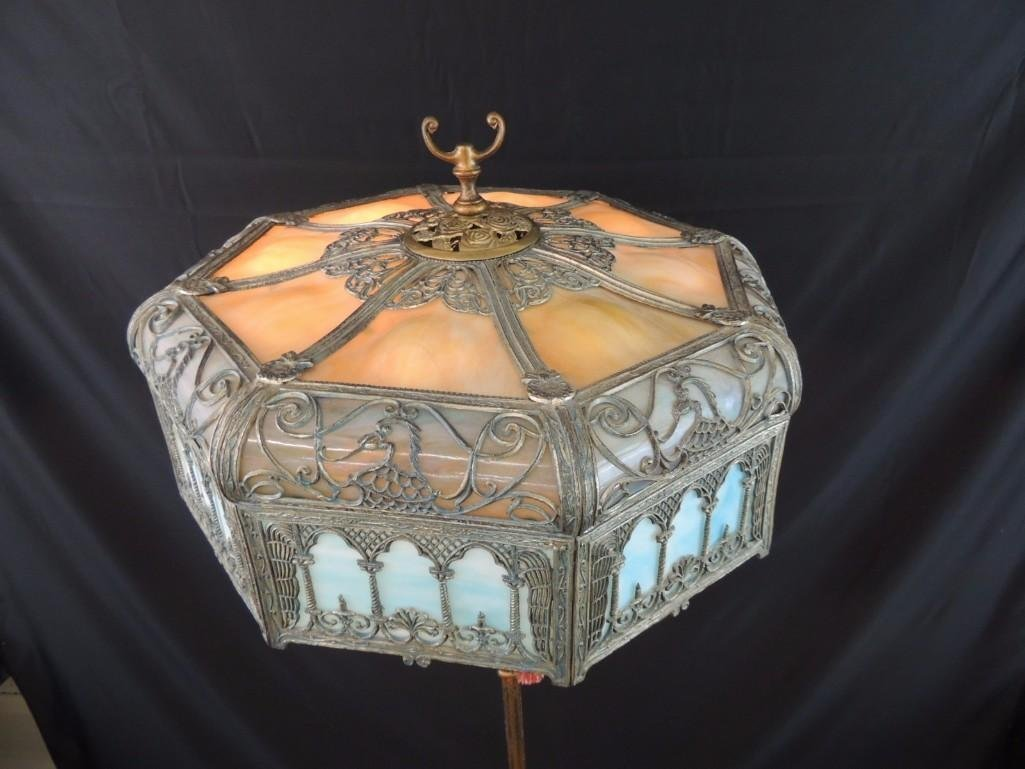 Antique Stained Glass Floor Lamp Featuring Griffins - 5