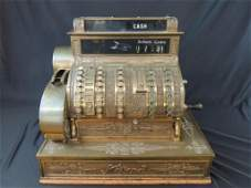 Antique National Cash Register CO Ornate Brass Cash