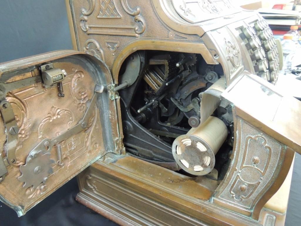 Antique National Cash Register CO. Ornate Brass Cash - 10
