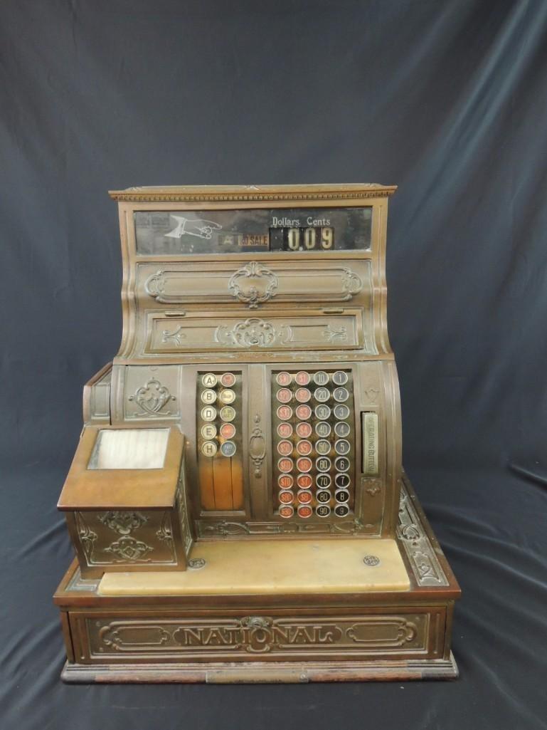 Antique National Cash Register CO. Ornate Brass Cash