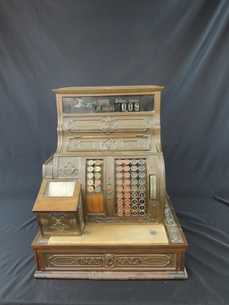 Antique National Cash Register CO. Ornate Brass Cash - 2