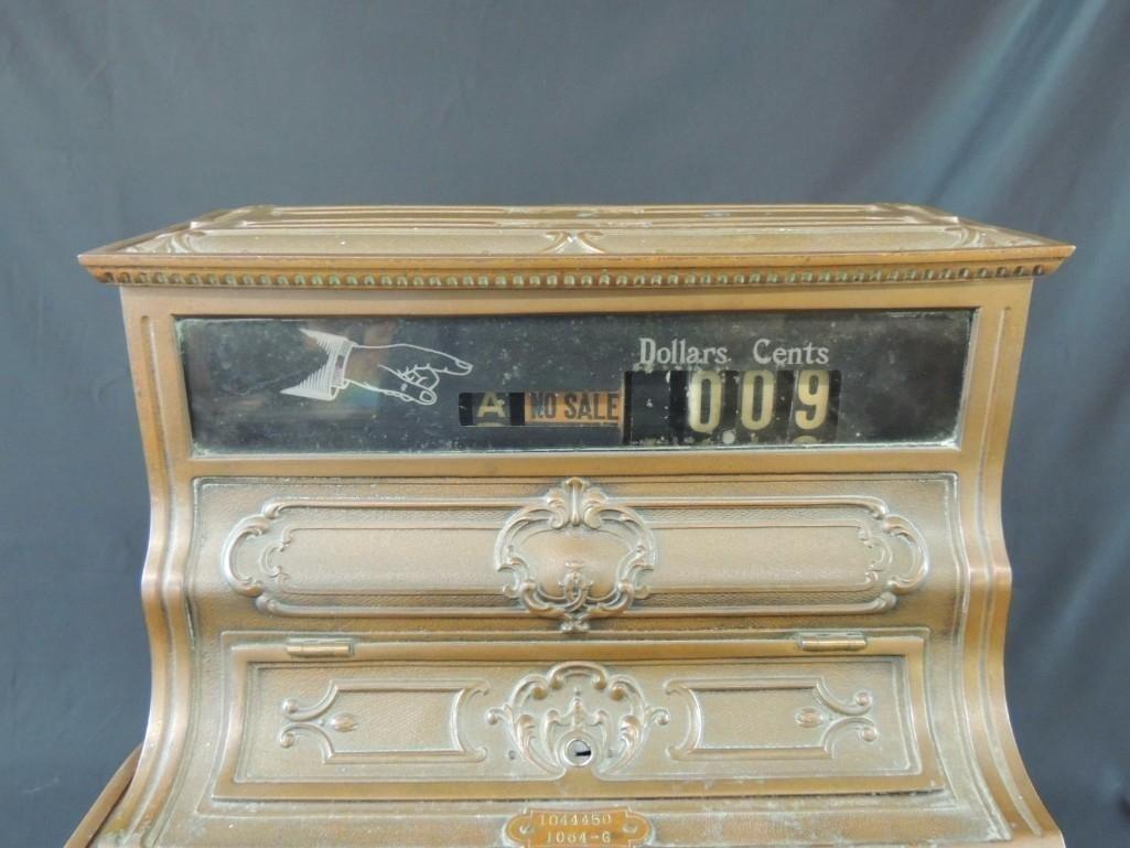 Antique National Cash Register CO. Ornate Brass Cash - 3