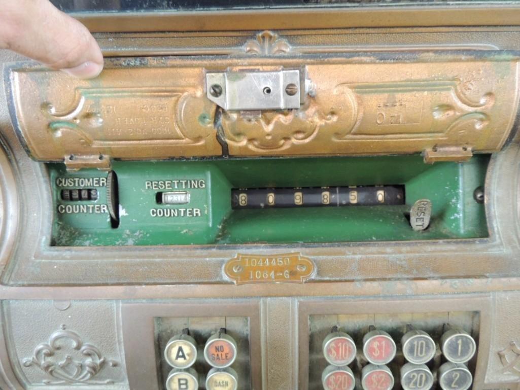Antique National Cash Register CO. Ornate Brass Cash - 4