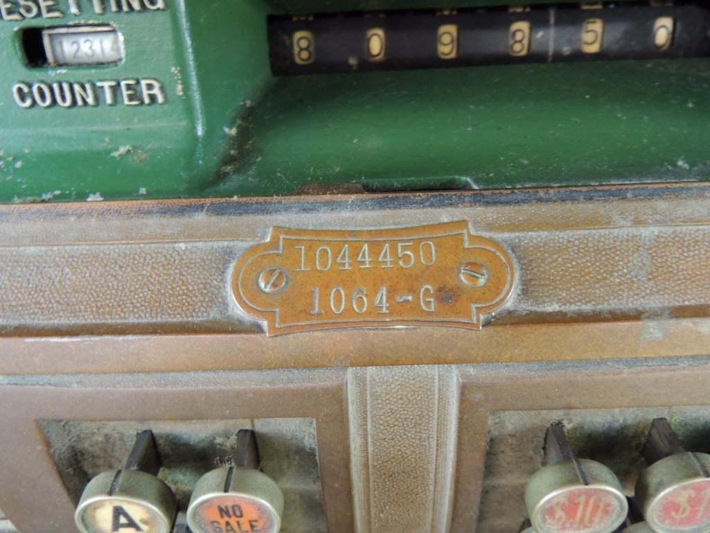 Antique National Cash Register CO. Ornate Brass Cash - 5