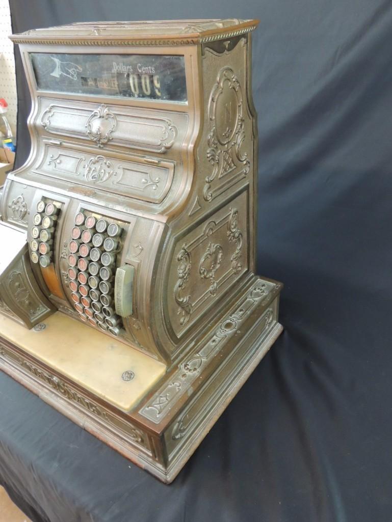 Antique National Cash Register CO. Ornate Brass Cash - 6