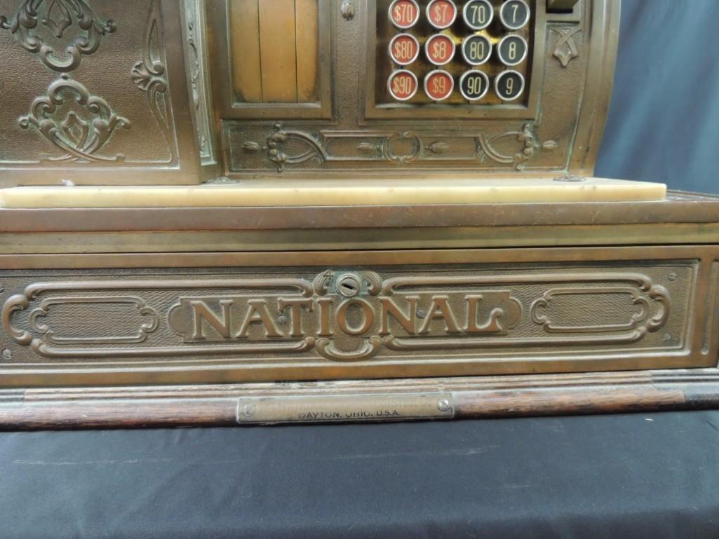 Antique National Cash Register CO. Ornate Brass Cash - 7