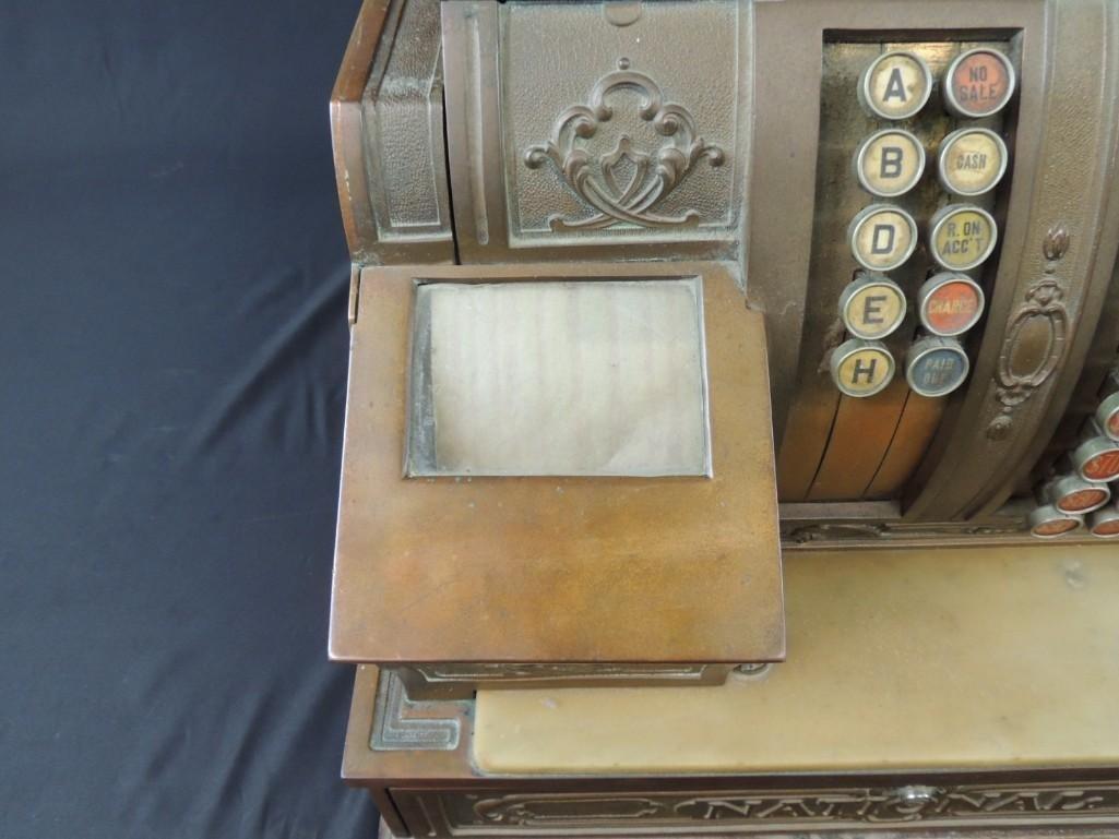 Antique National Cash Register CO. Ornate Brass Cash - 8
