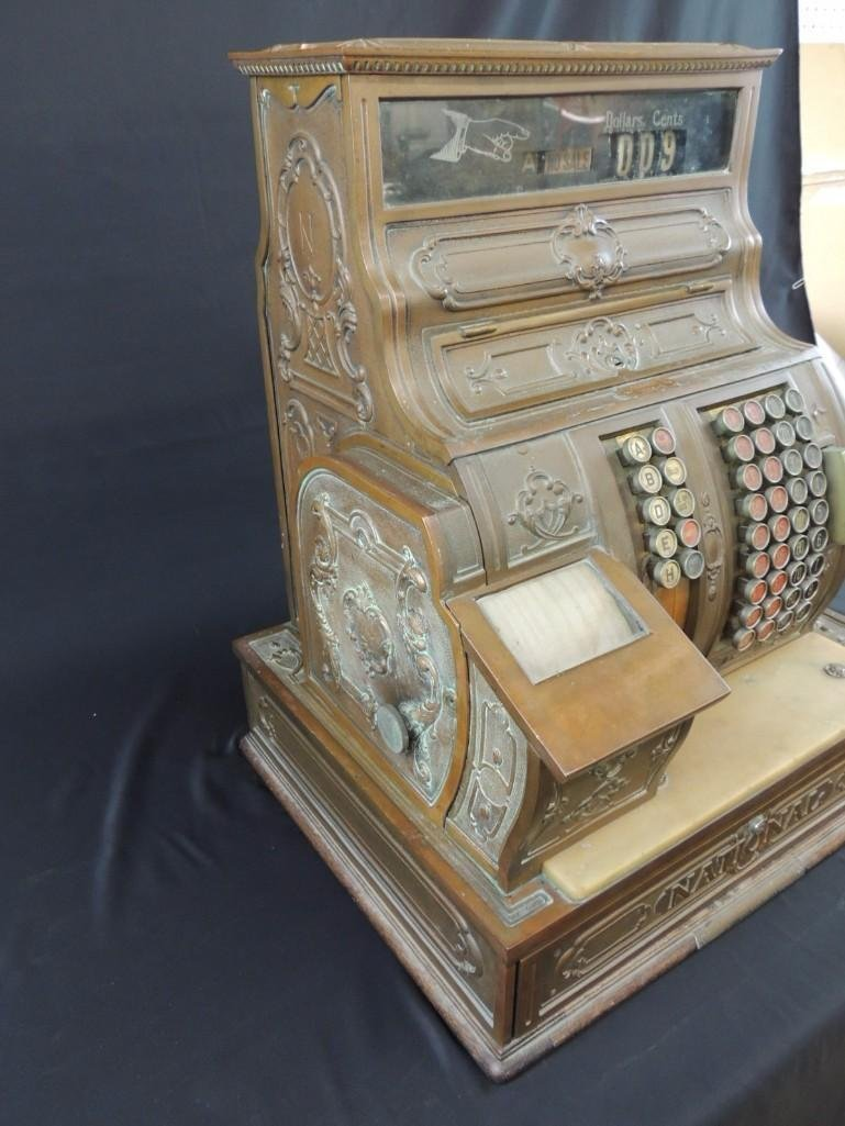 Antique National Cash Register CO. Ornate Brass Cash - 9