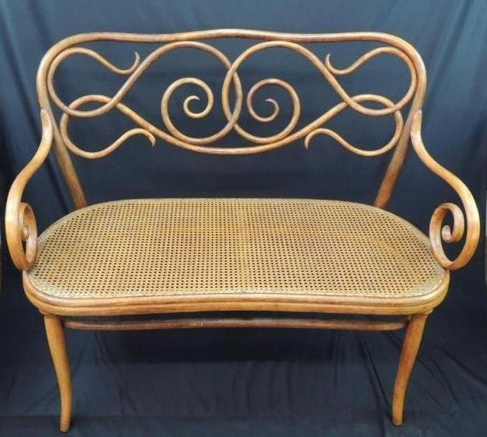 Antique Ornate Bent Wood Caned Bench with Makers Mark