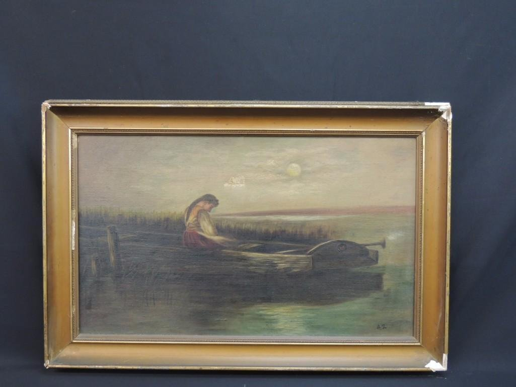 Oil Painting of Girl in Boat Signed S.S.