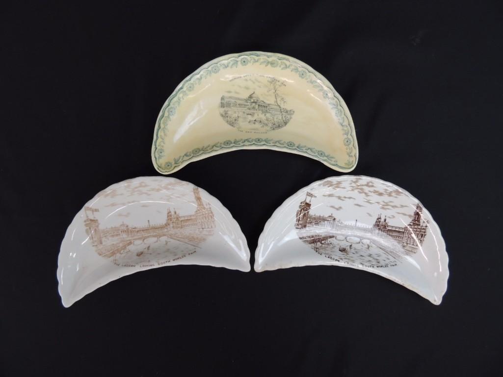 Group of 3 1893 Chicago World's Fair Bone Plates