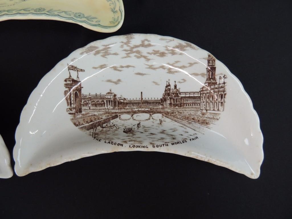 Group of 3 1893 Chicago World's Fair Bone Plates - 3
