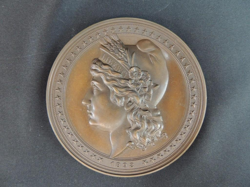 1892 World's Fair Souvenir Solid Bronze Table Medal