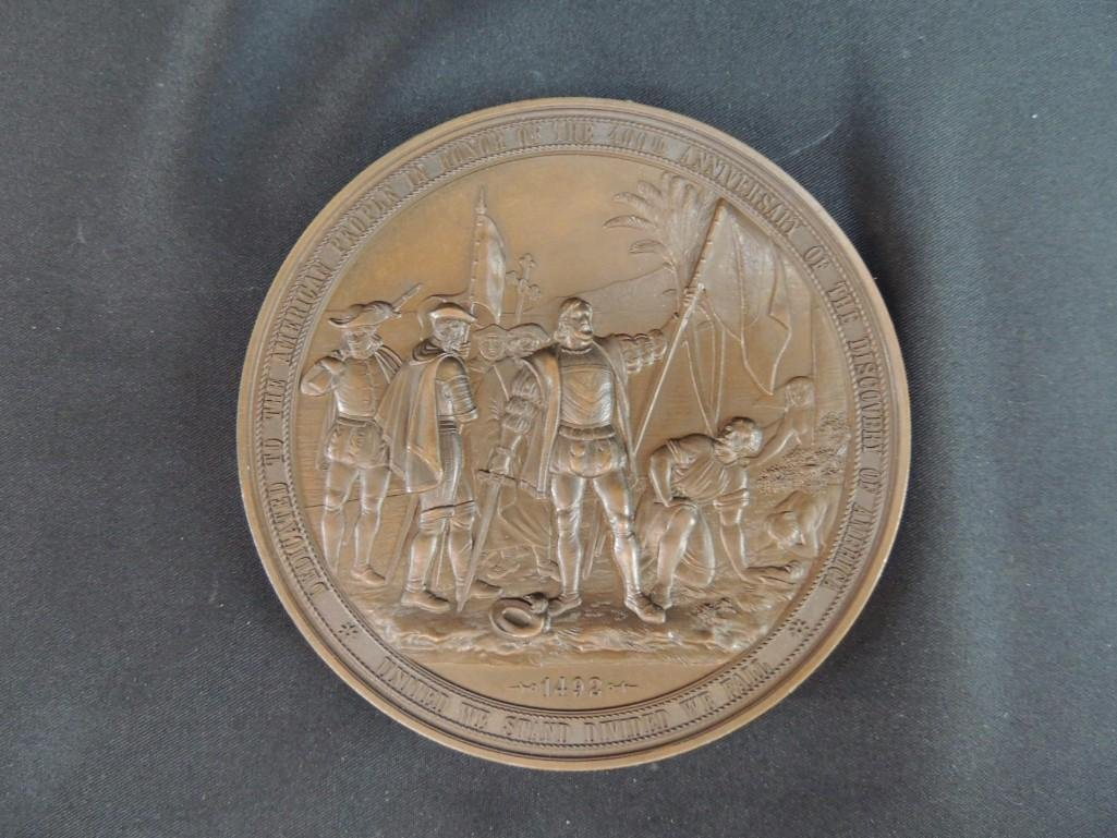 1892 World's Fair Souvenir Solid Bronze Table Medal - 2