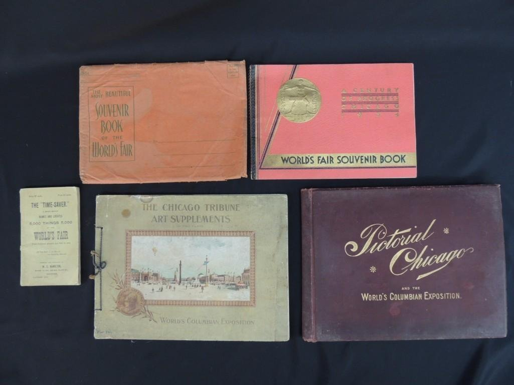 Group of 4 1893 and 1933 Chicago Worlds Fair Souvenir
