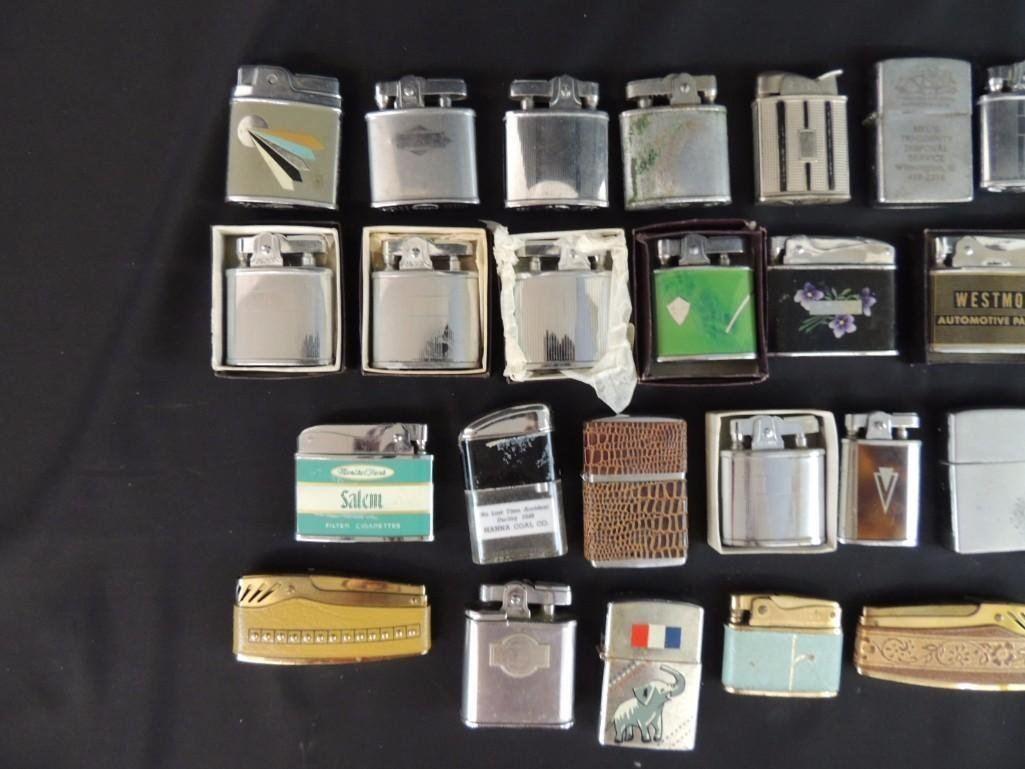 Group of Vintage Lighters Featuring Advertising, - 2