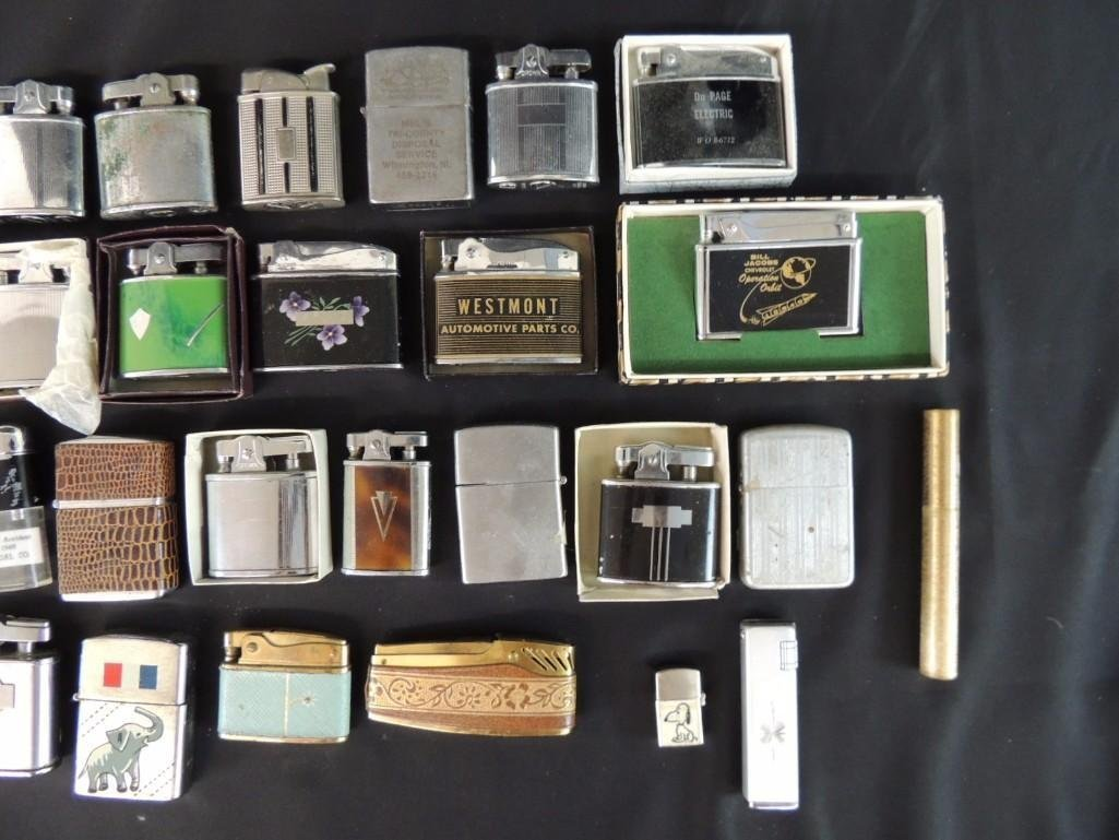 Group of Vintage Lighters Featuring Advertising, - 3