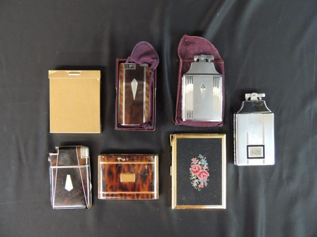 Group of 7 Vintage Cigarette Cases and Lighters