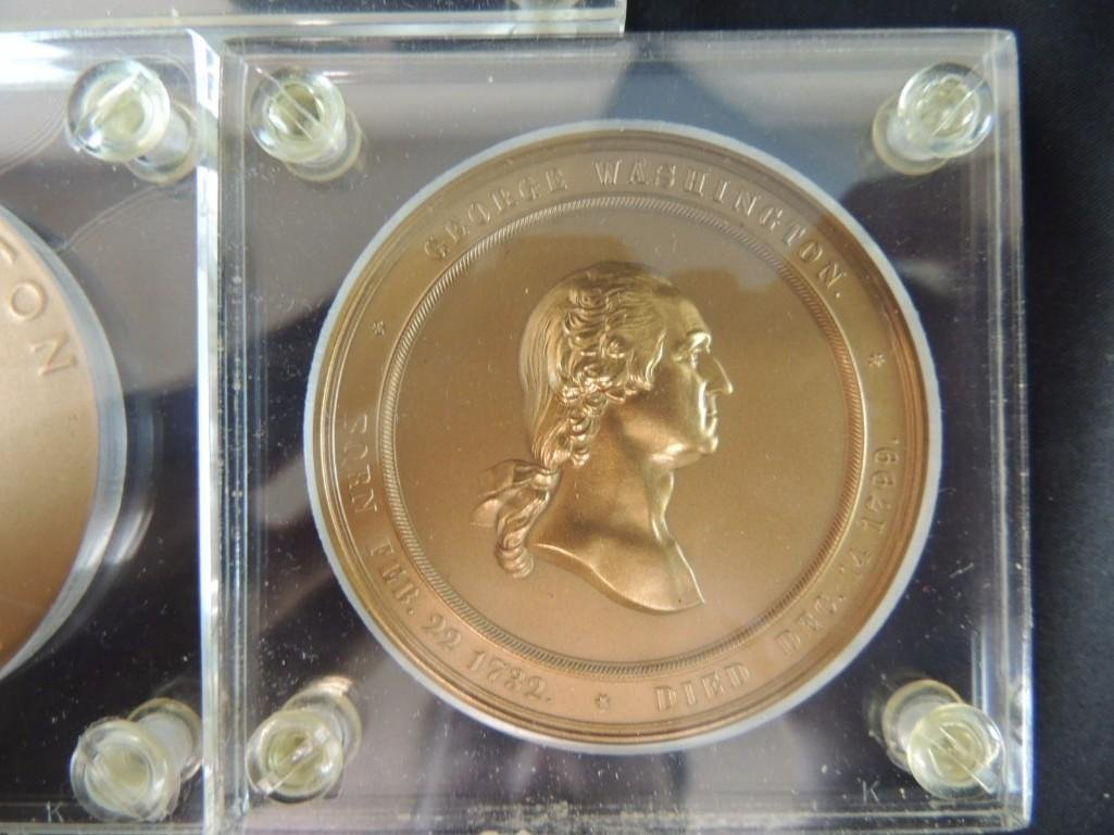 Group of 3 George Washington Solid Bronze Table Medals - 4