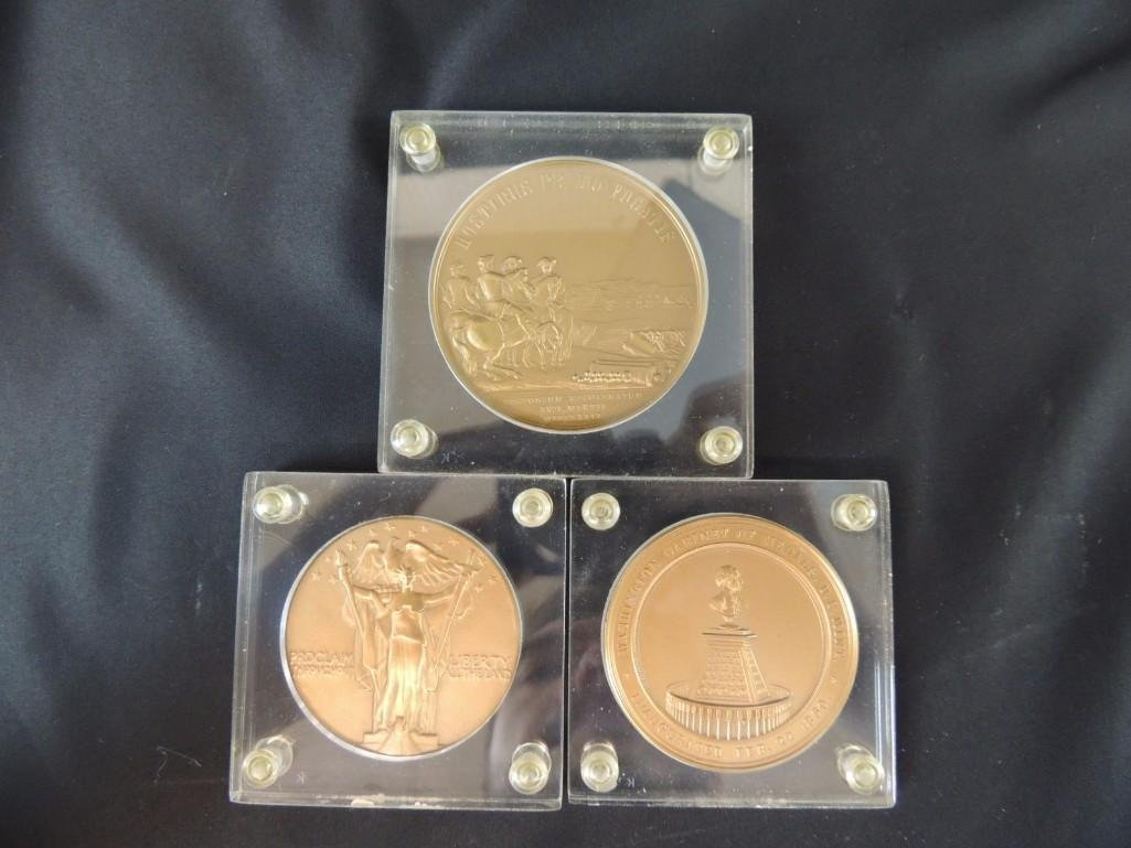 Group of 3 George Washington Solid Bronze Table Medals - 5