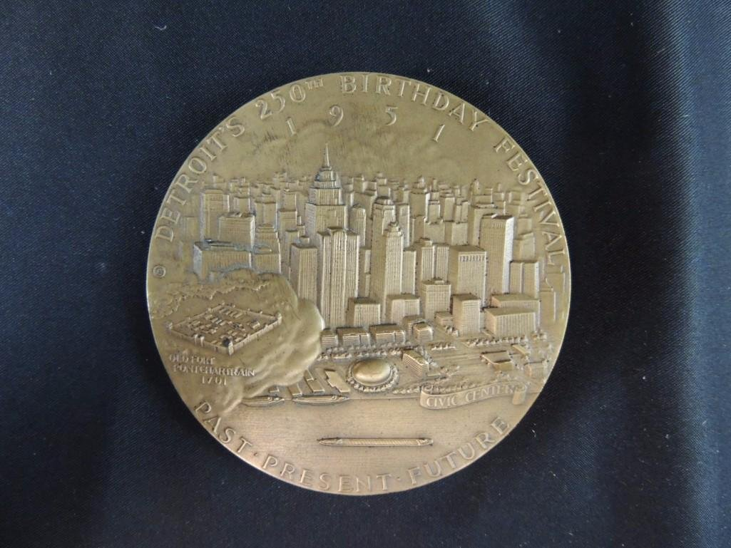 250th Anniversary of Detroit Solid Bronze Table Medal - 2