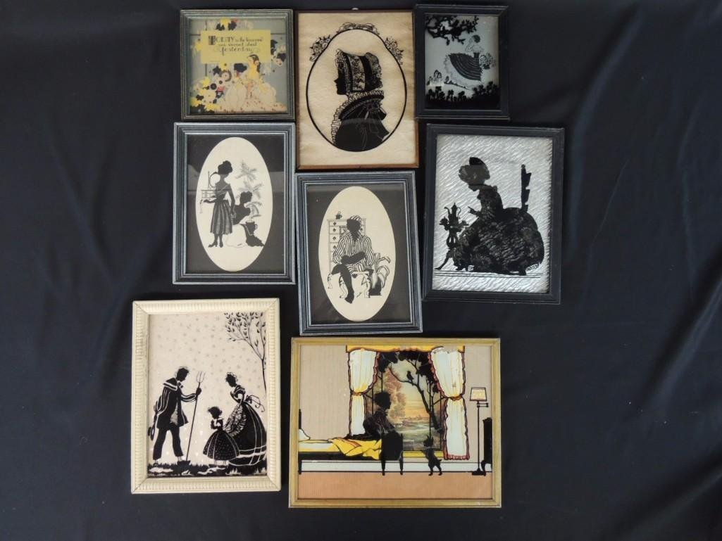 Group of 8 Silhouettes Featuring Children, Women, and
